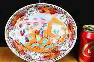 Antique Chinese Familie Rose Porcelain Plate 1800s