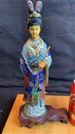Chinese Cloisonne Vintage Figure Geisha Lady w Flute