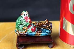 Antique Chinese Junyao Item Monkey Figure