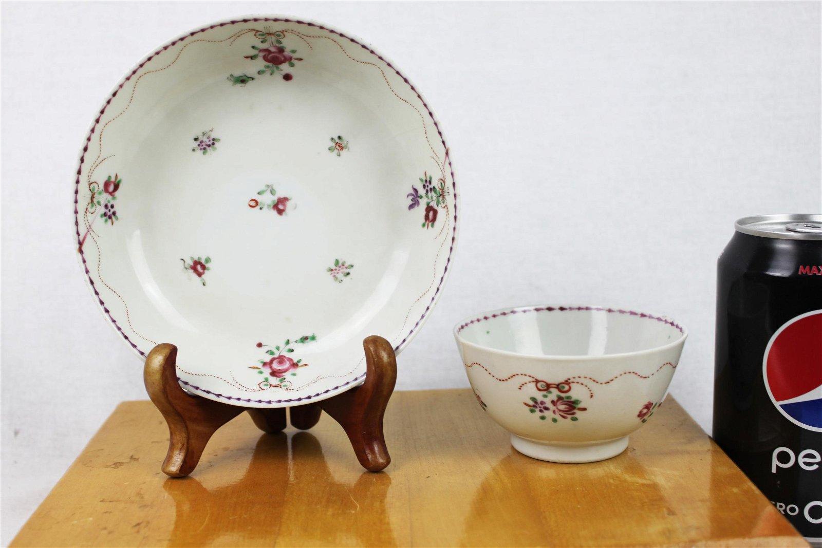 Antique Porcelain Plate and Porcelain Bowl