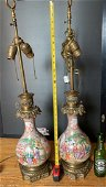 A Pair antique Chinese Familie Rose Porcelain Lamp