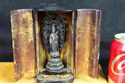 Antique Chinese Bronze Buddha in Wood Box