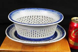 18th century Chinese BlueWhite Grill Net Porcelain