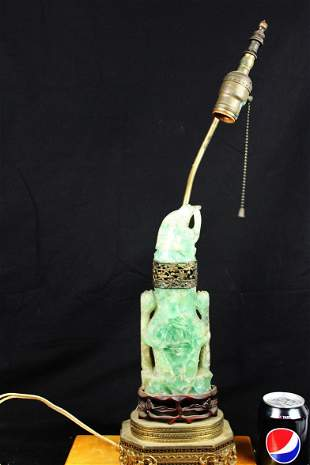 Antique Chinese Green Crystal Lamp 1900s