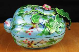 Antique chinese Color Painted Bronze Box