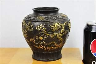 Antique Chinese Bronze Gold Gild Vase