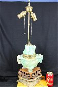 Antique Chinese Green Crystal Lamp 1900s'