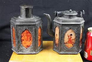 A Pair Antique Chinese Tin/Silver Bottles