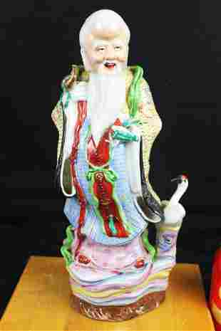 Antique Chinese Wucai Porcelain Lucky Buddha Statue