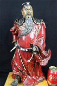 Chinese Hand Carved Gild Junyao Pottery GuanYu