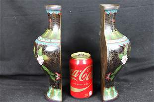 A Pair of antique Chinese Cloisonne Vase wall décor