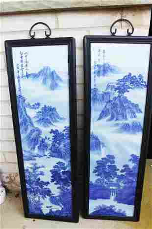 A Pair Chinese Porcelain Pannel Painting