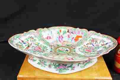 Antique Chinese Diamond Shape Porcelain Bowl Familie