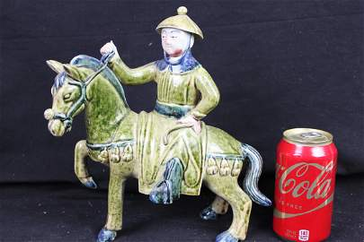 Antique Chinese Tang San Cai Porcelain Horse riding