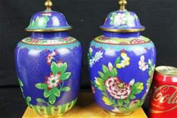 A Pair Antique Chinese Cloisonne Vase
