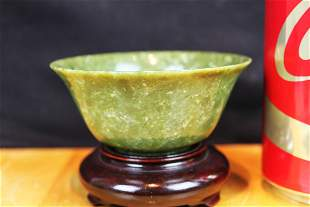 Antique Chinese Green Jade Bowl