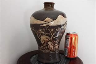Antique Chinese Vase Gild Junyao Mountain Pattern