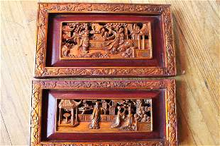 A Pair Antique Hand Carved Wood Panel