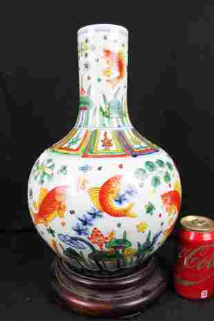 Chinese Porcelain Vase w/ red fish painting