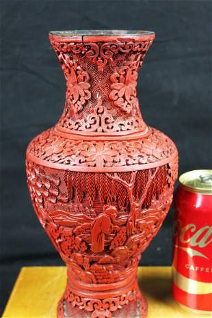 Antique Chinese Cinnabar Lacquered Vase