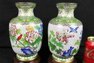 A Pair Chinese Cloisonne Vase w/ stands