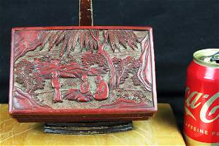 Hand carved chinese Cinnabar lacquered box