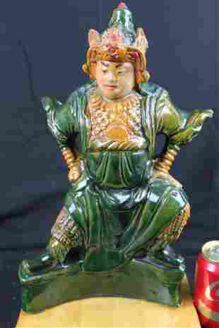 Antique Chinese Hand Carved Gild Junyao Pottery Figure