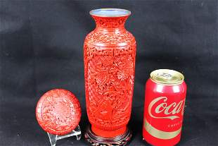 Antique Chinese Cinnabar Lacquered Vase and Box