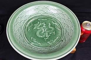 Antique Chinese Green Gild Dragon Pattern Porcelain