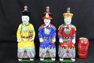 Three Antique Chinese WuCai Porcelain Statue