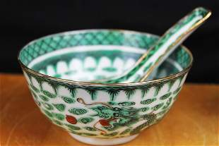 Antique Chinese Porcelain Rice Bowl and Spoon