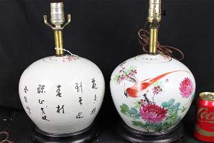 A Pair Antique Chinese Porcelain Vase Lamp 18th century