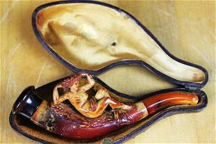 RARE ANTIQUE HAND CARVED LADY PIPE AMBER STEM BOX G.W.