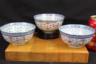 Three Antique Porcelain Rice Bowls
