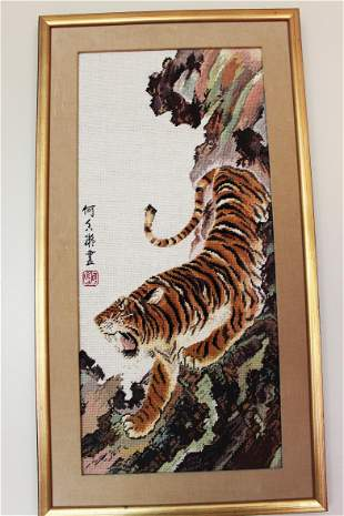 Hand Carved Chinese Tiger Painting - silk /niddle made