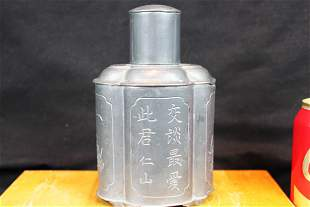 Antique Chinese Tin Made liquor warmer Bottle