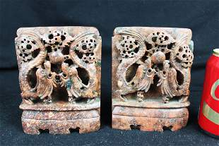 A Pair Chinese Hand Carved Stone - Dragon Patterns