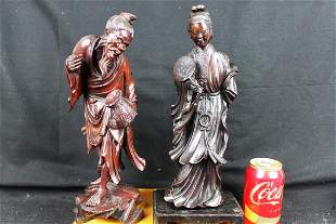 Antique Chinese Hand Carved Wood Statues