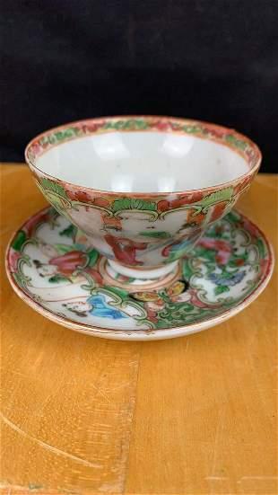 Antique Chinese Familie Rose Porcelain Tea cup