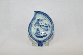 Chinese Blue & White Canton Leaf Dish