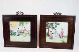 A Pair Hand Carved Japanese Porcelain Painting Panel in