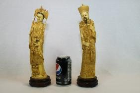 Two Chinese Hand Carved Figures with Wood Stand