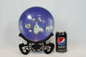 Chinese Cloisonne Plate with Wood Base