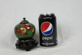 Chinese Cloisonne Jar with Wood Base