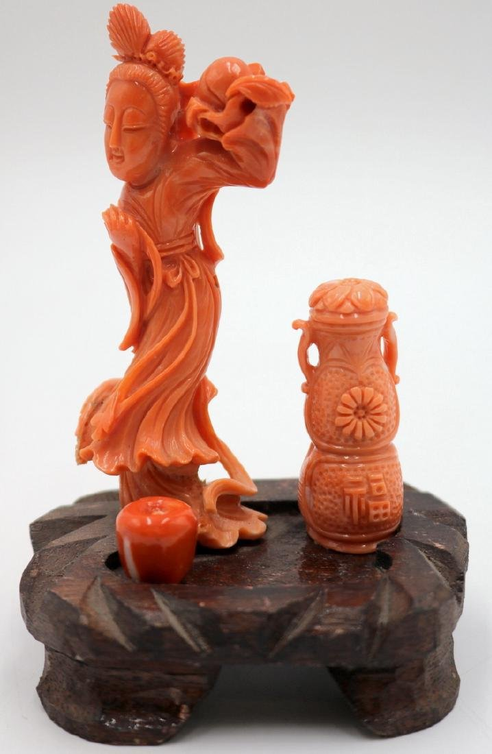 Chinese High Quality Carved Coral Quan Yin