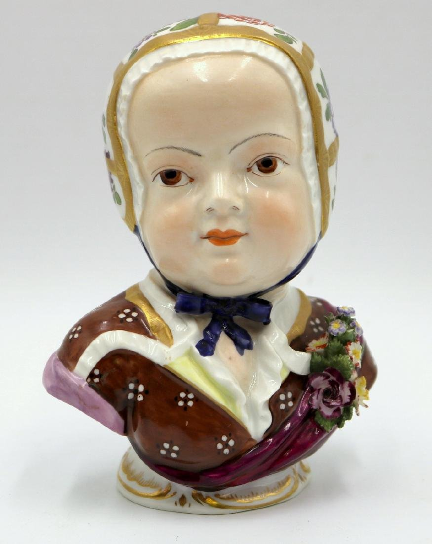 Antique Royal Vienna Hand Painted Porcelain Female Bust