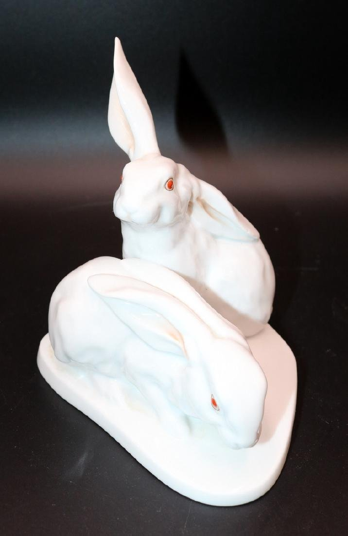 Herend Hand Painted Porcelain White Rabbits - 2