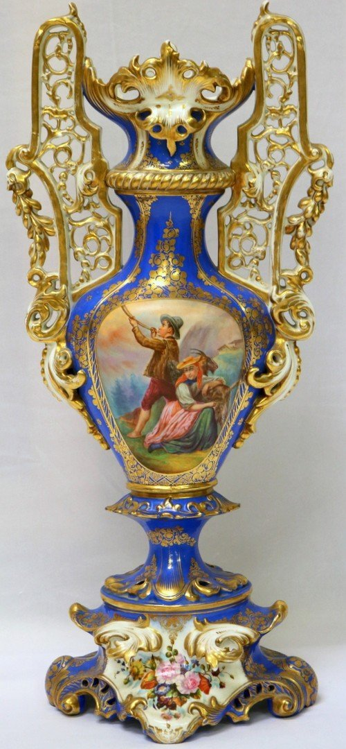 Antique French Old Paris Hand Painted Reticulated