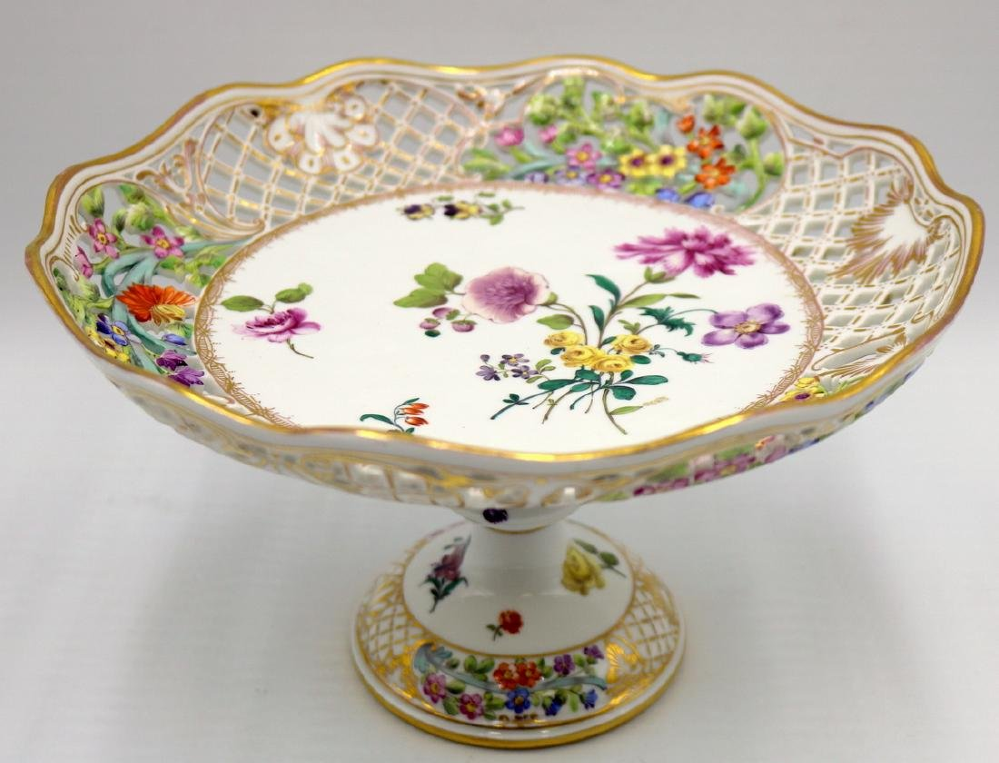 19th C. Meissen Hand Painted Porcelain Reticulated