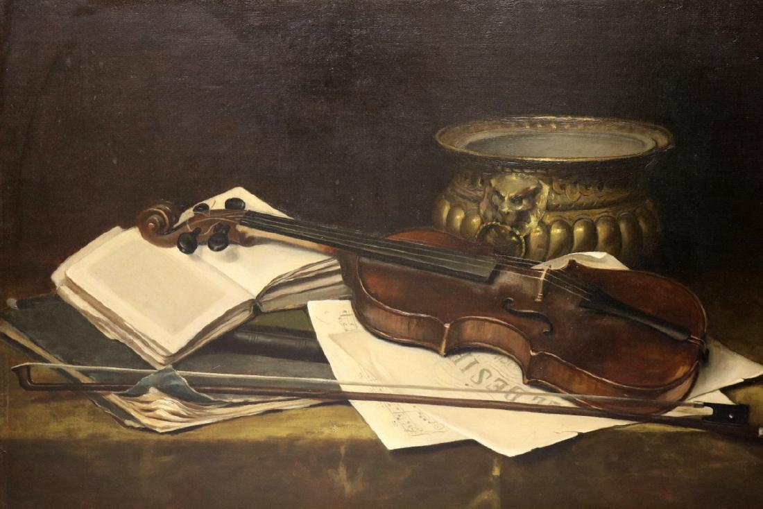 "19th C. American School ""Still Life with Violin"" Oil"